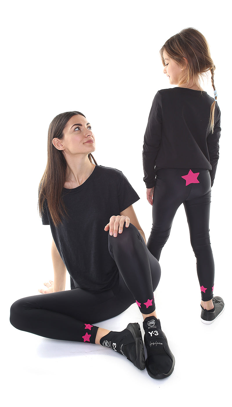 Leggings Bundle Donna e Bambina in lycra nero con stelle applicate in lycra fucsia