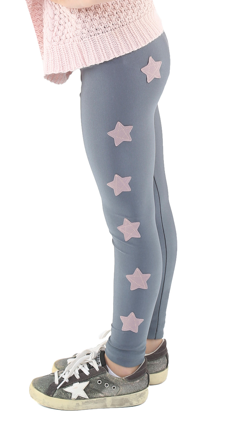 Leggings bambina in lycra grigi con stelle applicate rosa cenere