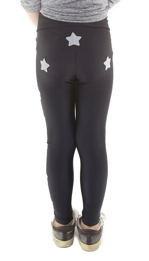 Leggings bambina in lycra neri con stelle applicate grigio perla