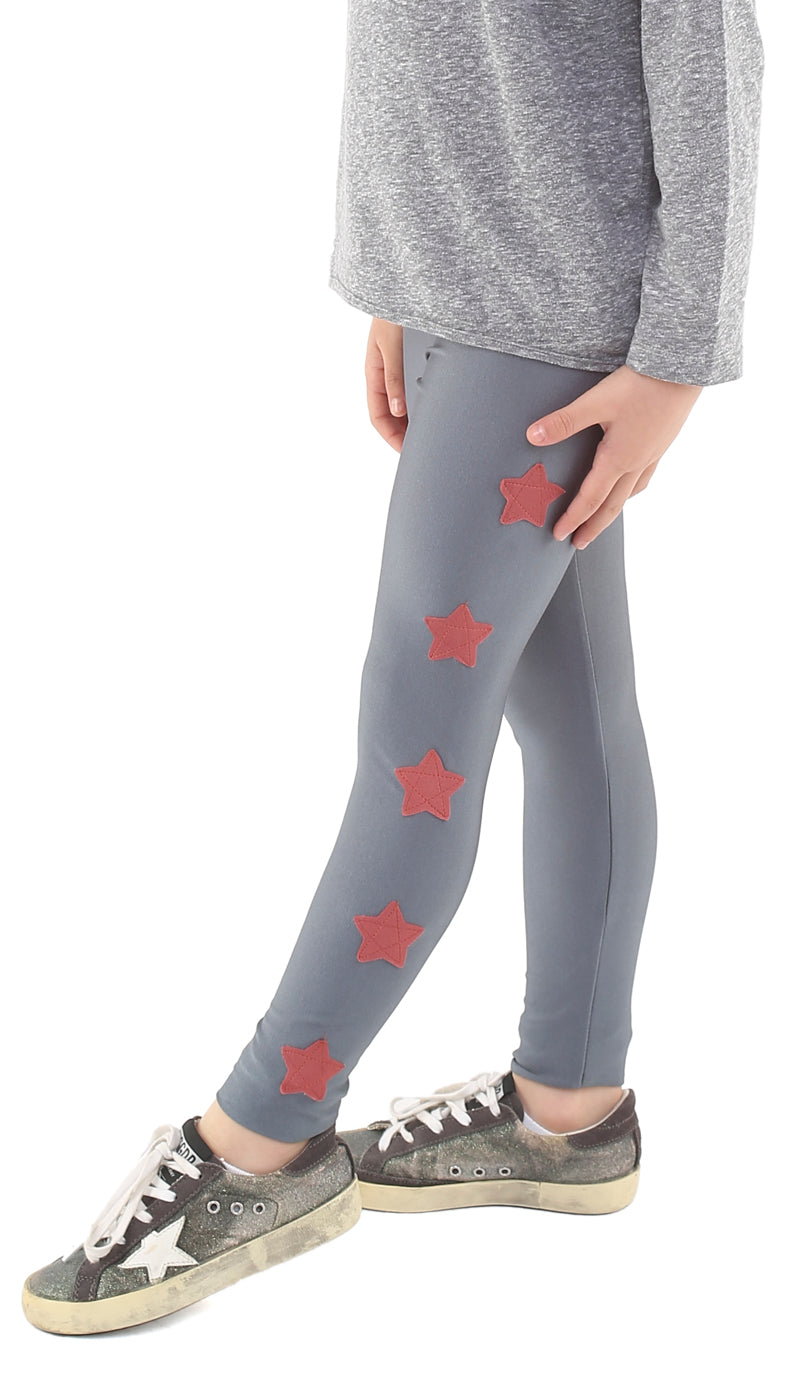 Leggings bambina in lycra grigi con stelle applicate bordeaux chiaro