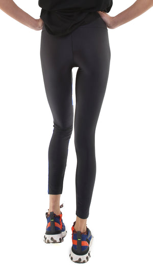 Leggings in lycra neri con inserti bluette