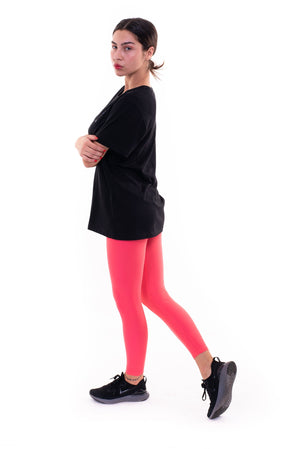 Leggings in lycra color salmone tinta unita senza stelle