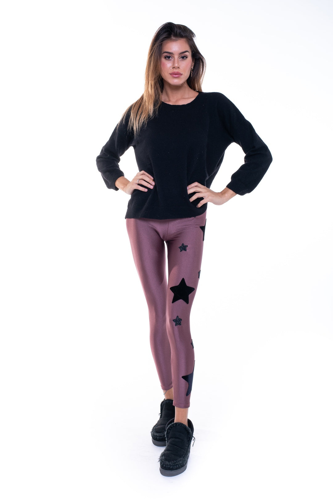 Leggings in lycra bordeaux con stelle applicate in velluto nero e lurex nero