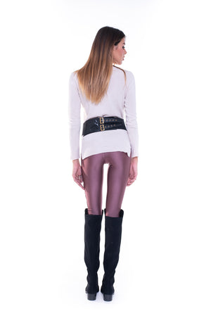 Leggings in lycra bordeaux con stelle in velluto bordeaux in gradazione