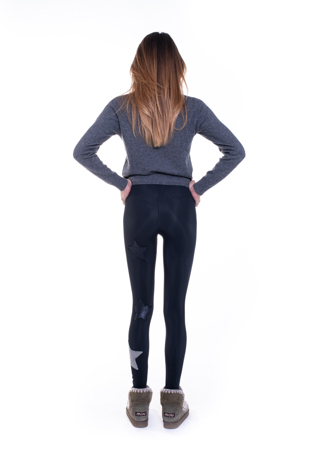 Leggings felpati all black con stelle lurex e argento