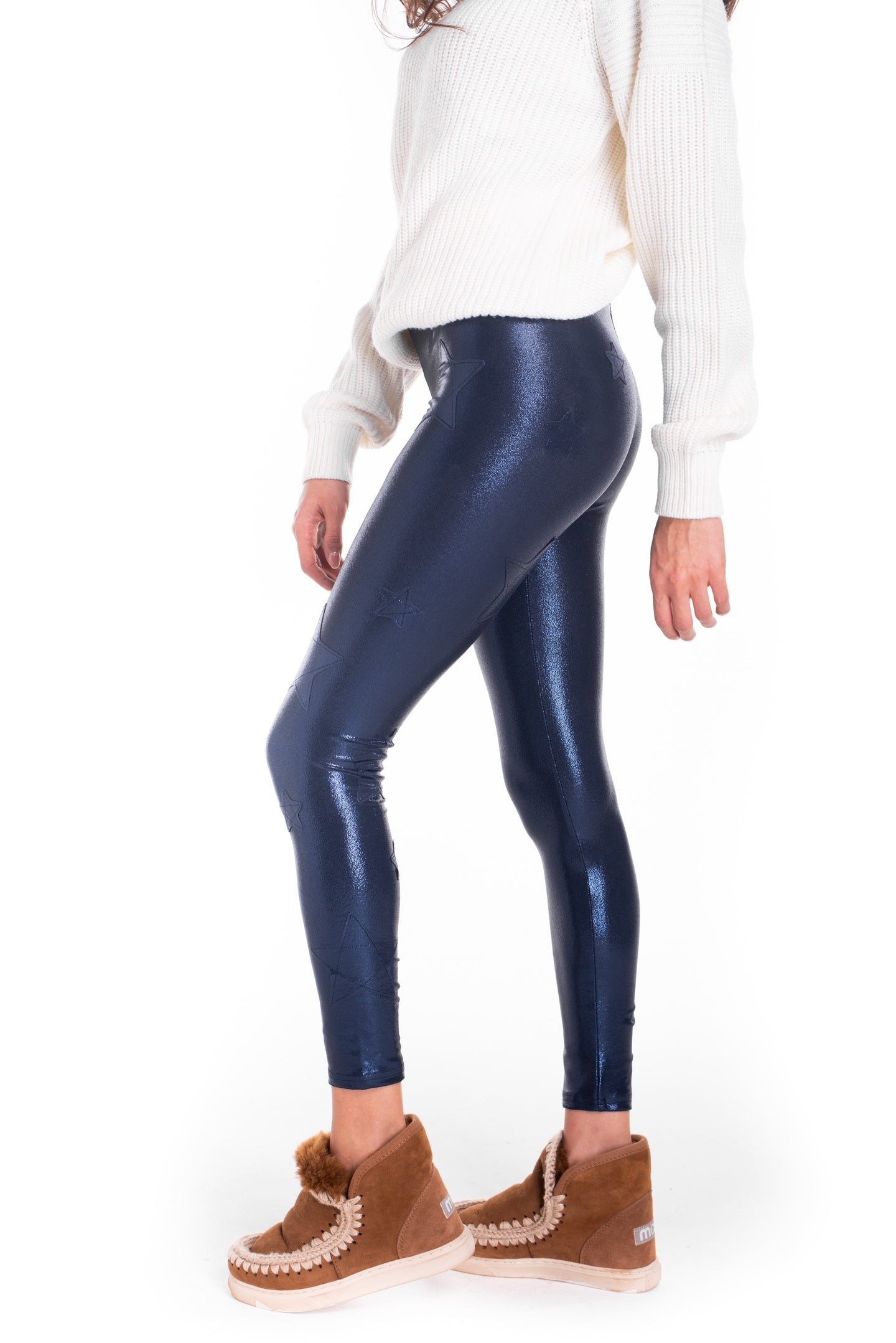 Leggings in lycra blu laminata con stelle applicate ton sur ton