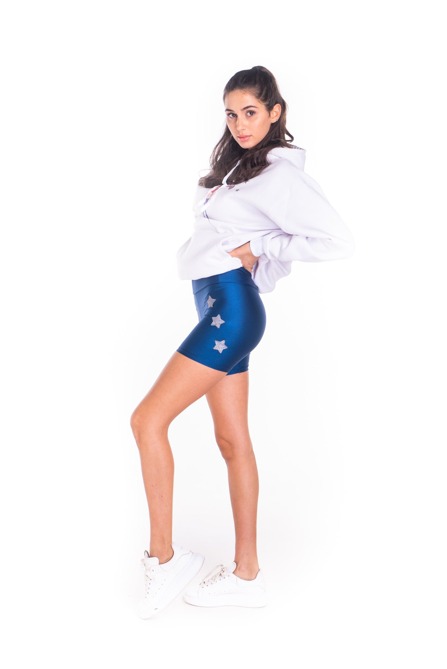 Short leggings in lycra blu laminato con stelle applicate lurex