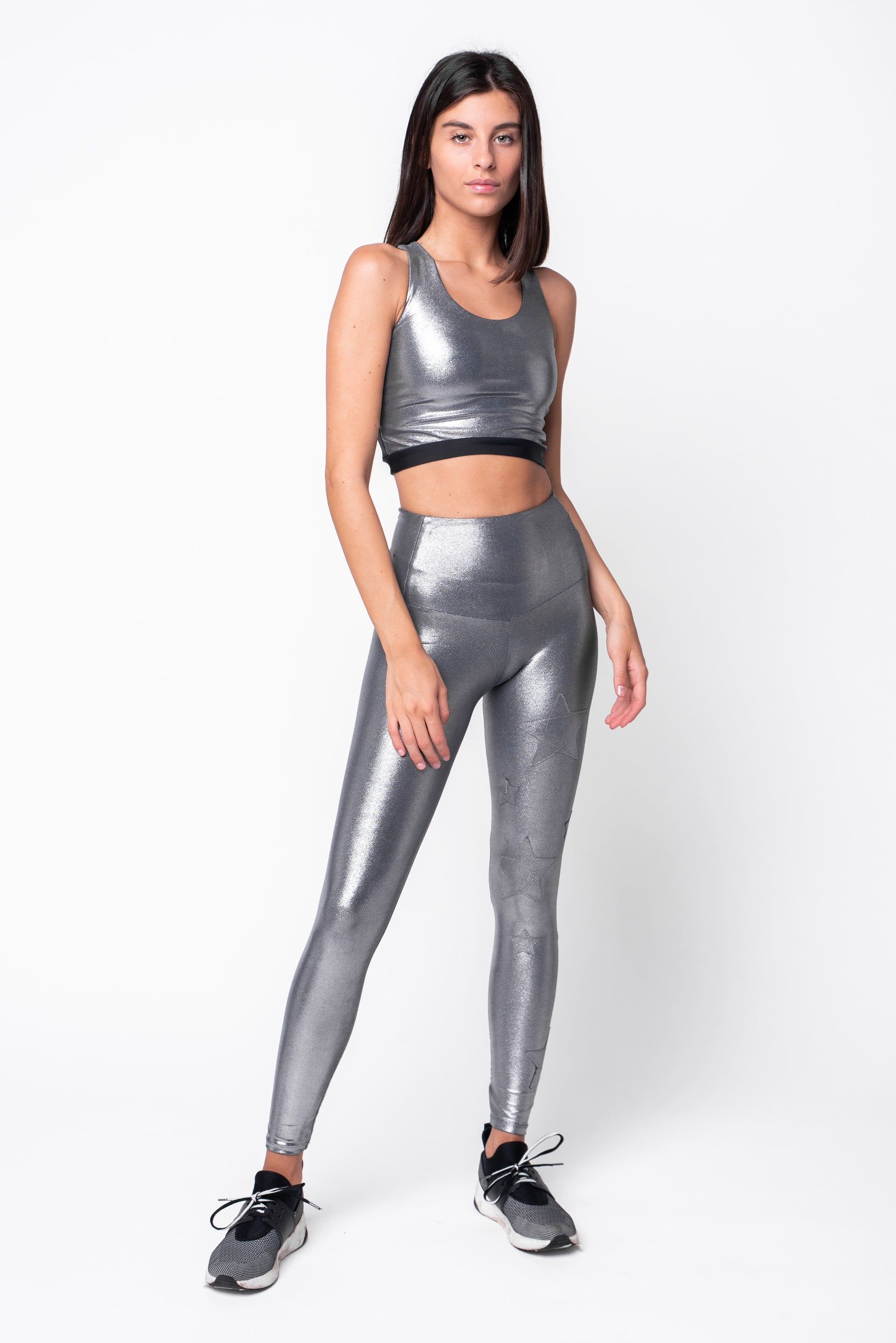 Leggings in lycra argento a vita alta con stelle applicate ton sur ton