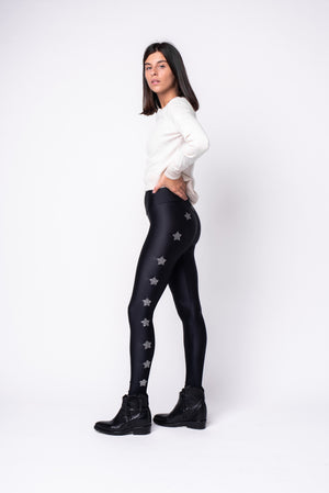 Leggings in lycra neri a vita alta con stelle applicate ad arco lurex