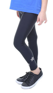 Leggings Bambina in lycra nero con stelle applicate grigie