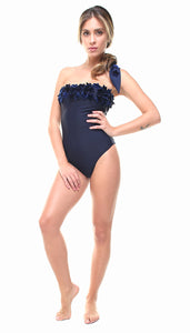 Costume a fascia in lycra blu con stelle applicate in velluto blu