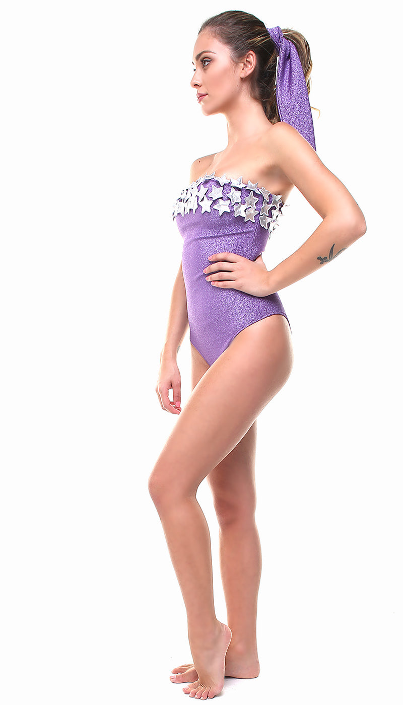 Costume a fascia in lurex viola con stelle applicate argento
