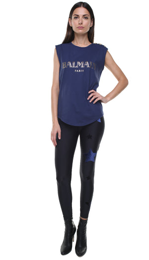 Leggings in lycra neri con stelle applicate in velluto blu e in velluto nero