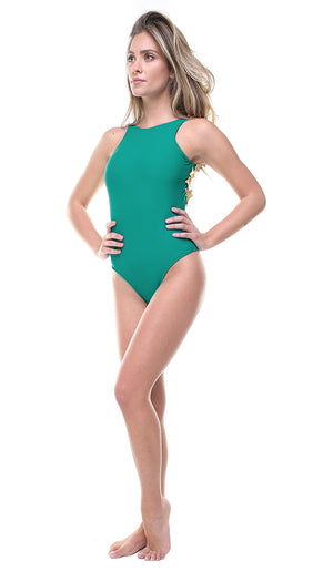 Costume scollo all'americana in lycra turchese con stelle applicate oro