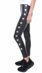 Leggings in vera pelle neri con stelle applicate in pelle nera e argento