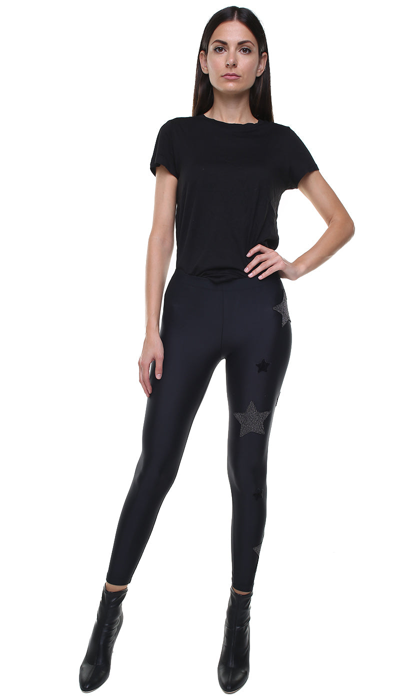 Leggings in lycra neri con stelle applicate in velluto nero e in lurex nero