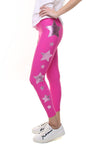 Leggings in lycra fucsia con stelle applicate fucsia e rosa metallizzato