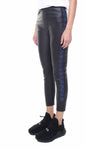 Leggings in vera pelle neri con stelle applicate in pelle bluette