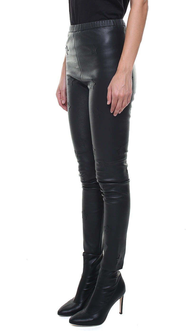 Leggings in vera pelle neri con stelle applicate in pelle nera