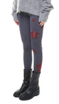 Leggings in lycra grigio con stelle applicate in lurex bordeaux