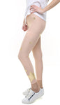 Leggings in lycra rosa cipria con stelle applicate rosa cipria e oro