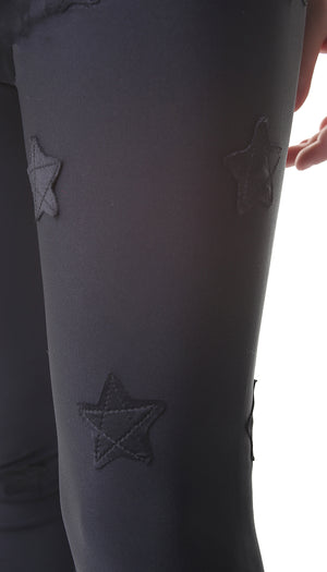 Leggings Bambina in lycra neri con stelle applicate nere