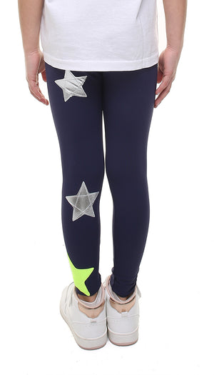 Leggings Bambina in lycra blu con stelle applicate argento e giallo fluo