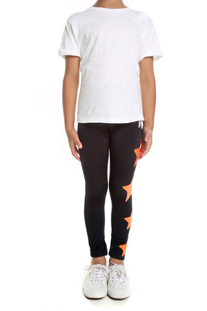 Leggings Bambina in lycra neri con stelle applicate argento e arancio
