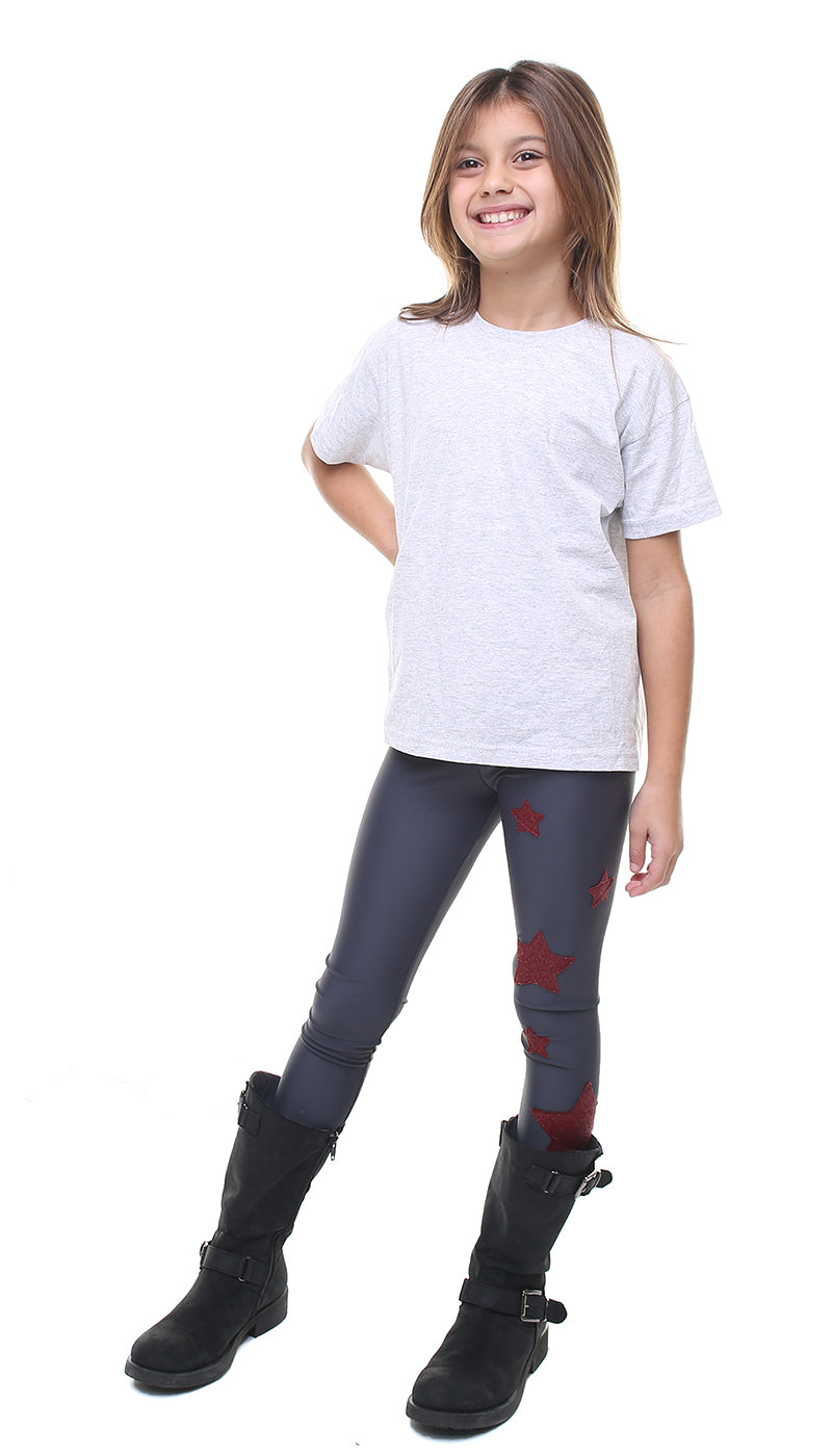 Leggings bambina in lycra grigio con stelle applicate in lurex bordeaux