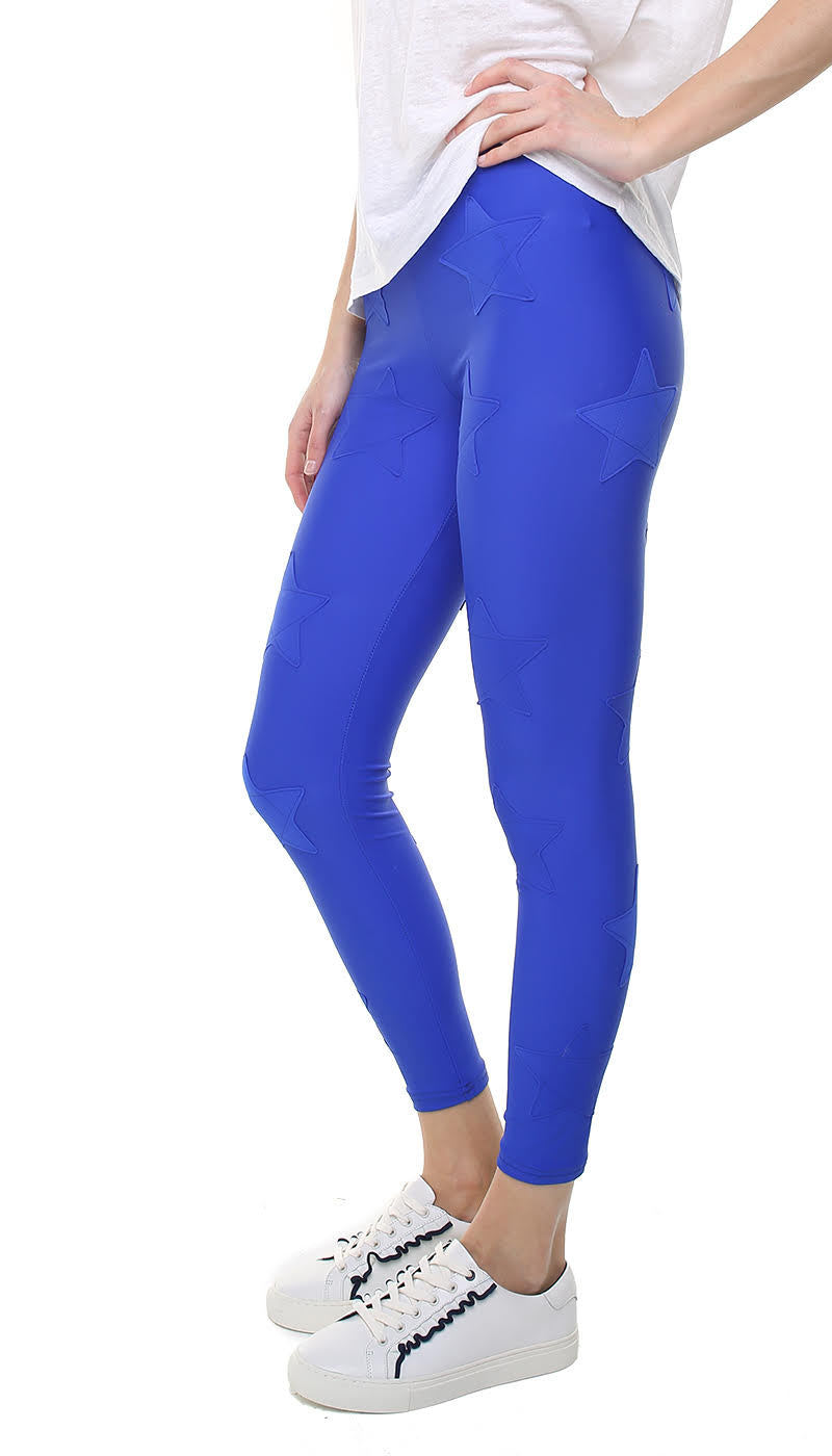 Leggings in lycra bluette con stelle applicate bluette