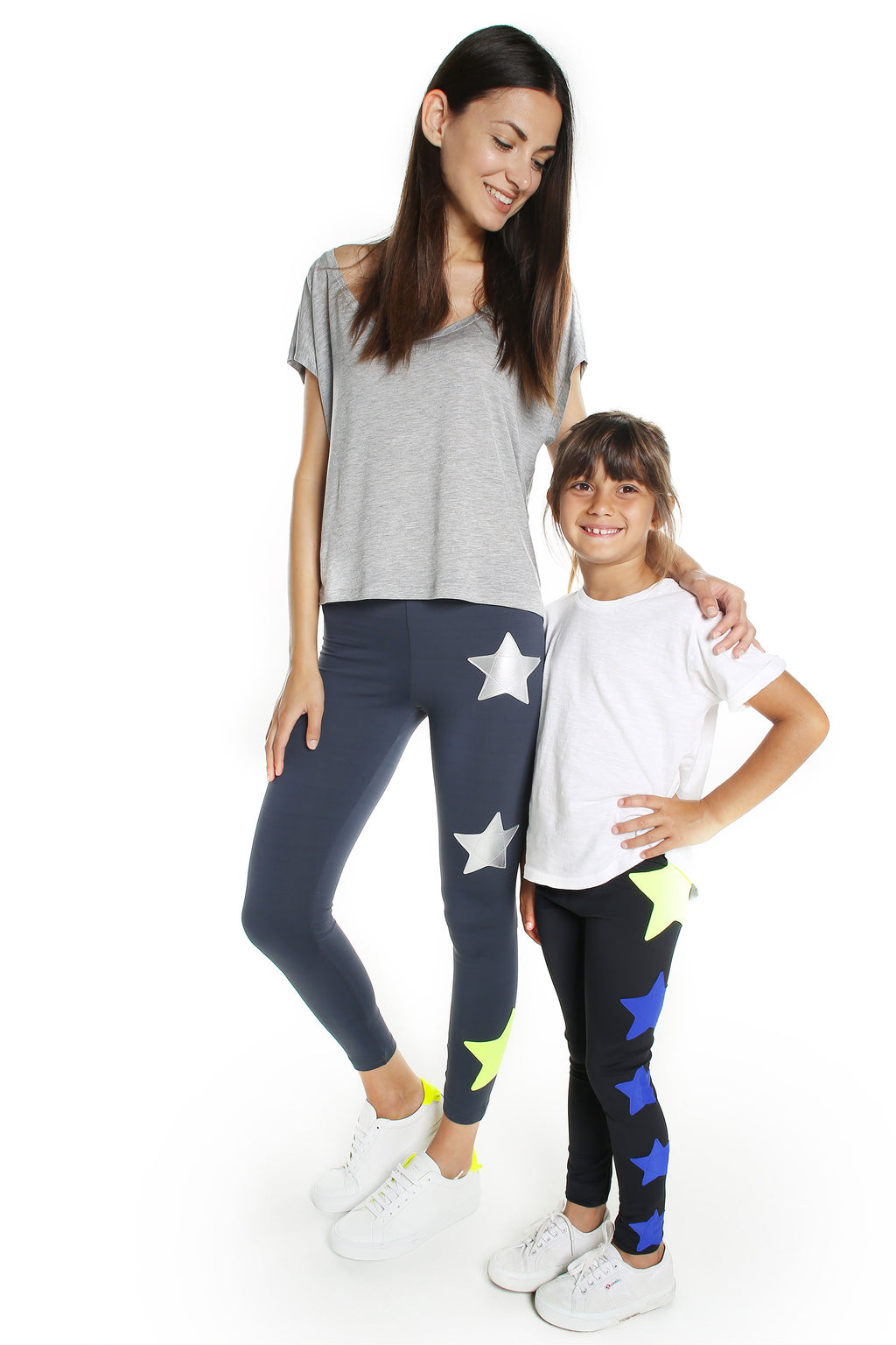 Leggings Bundle Donna e Bambina Leggings in lycra grigio piombo con stelle applicate argento e giallo fluo