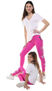 Leggings Bundle Donna e Bambina in lycra fucsia con stelle applicate fucsia e rosa metallizzato