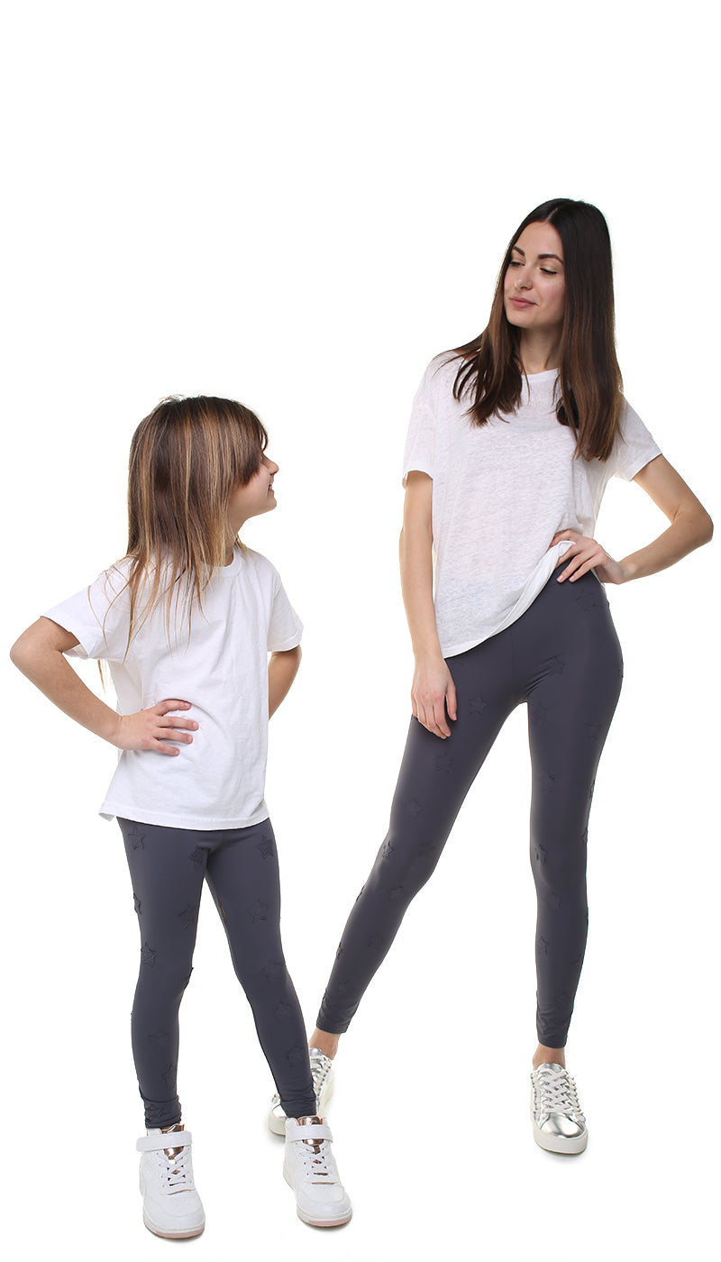 Leggings Bundle Donna e Bambina in lycra grigi con stelle applicate grigie