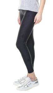 Leggings in lycra neri con stelle applicate nere