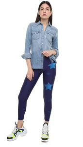 Leggings in lycra blu con stelle applicate blu navy e blu scuro