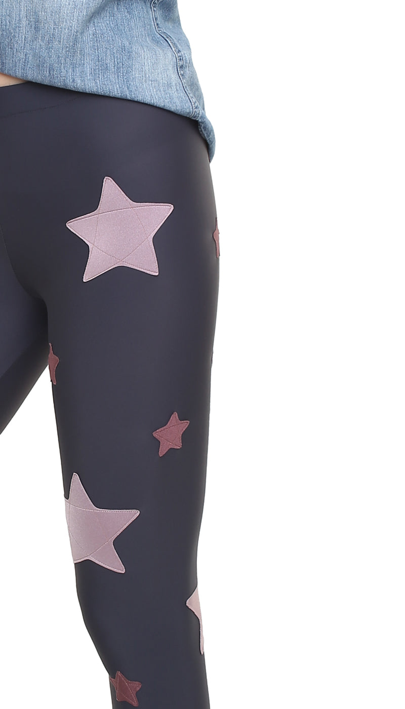 Leggings in lycra grigia con stelle applicate rosa cenere e rosa antico scuro