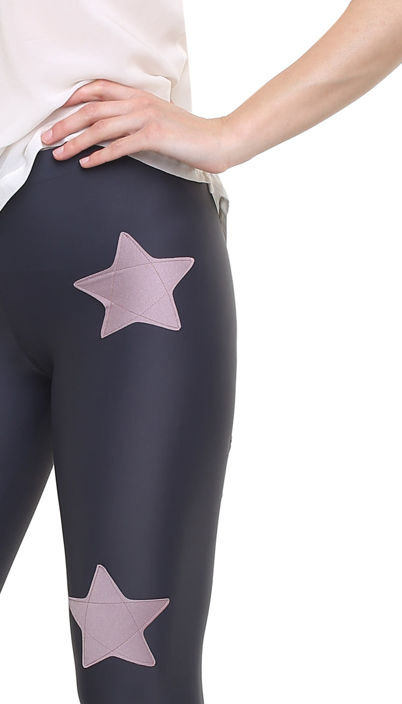 Leggings in lycra grigia con stelle applicate rosa cenere