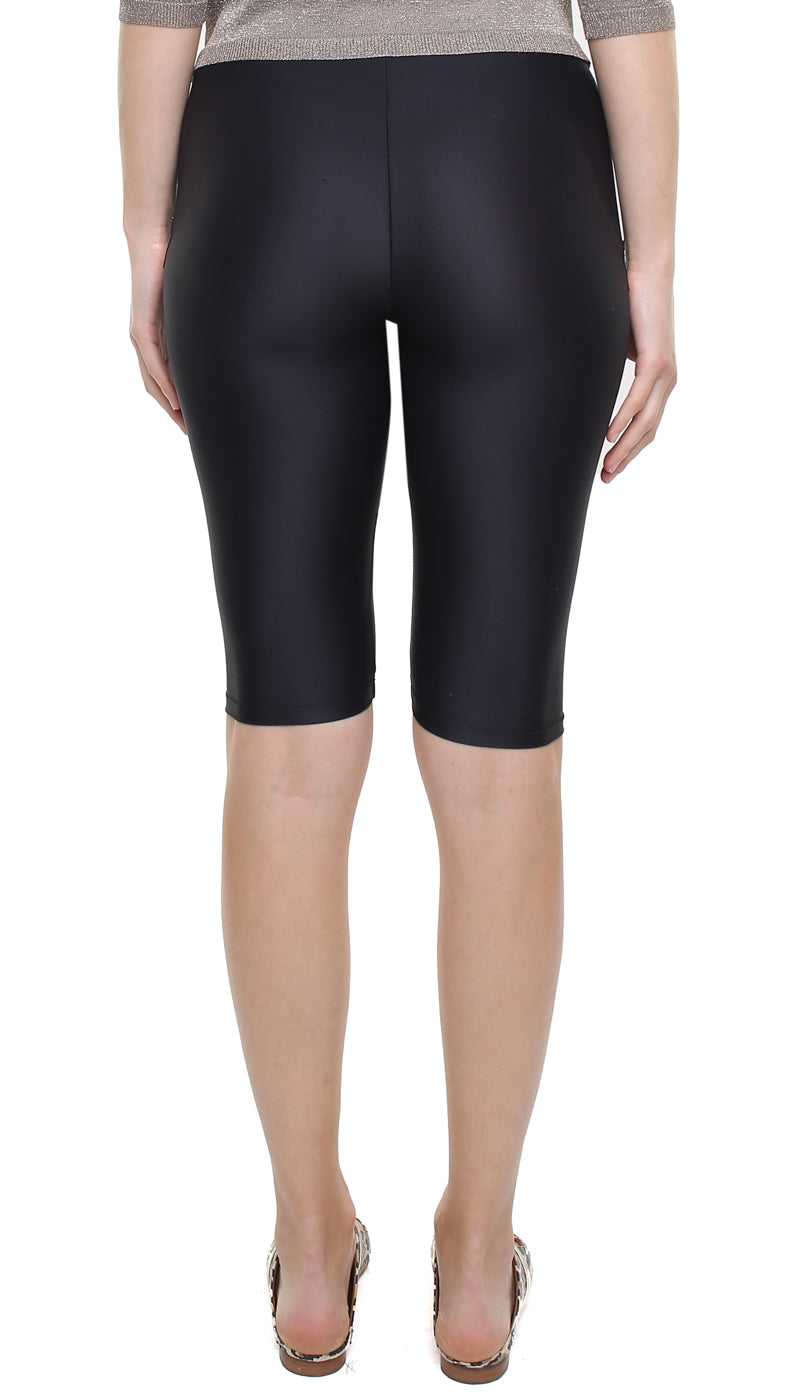 Leggings ciclista in lycra nera con stelle applicate bronzo
