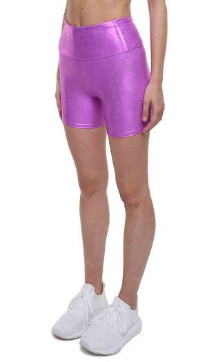 Short leggings a vita alta in lycra fucsia laminato