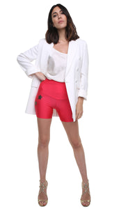Short leggings in lycra rosso anguria laminato con stelle applicate bronzo