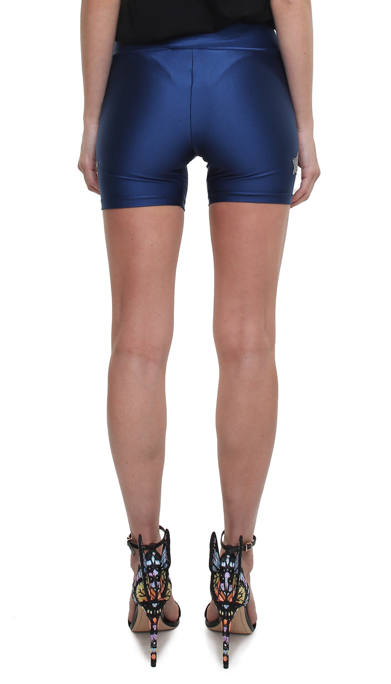 Shorts leggings in lycra blu oltremare con stelle applicate argento laminato