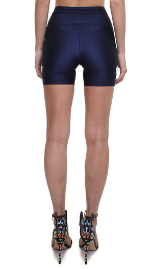 Shorts leggings in lycra blu navy con stelle applicate bianche