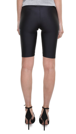Leggings ciclista in lycra nero con stelle applicate argento laminato