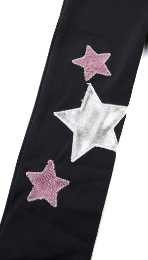 Fascia in lycra nera con stelle applicate argento e in lurex rosa scuro