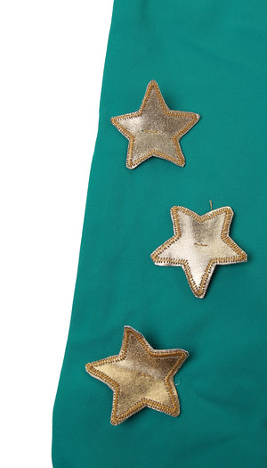 Fascia in lycra turchese con stelle applicate oro