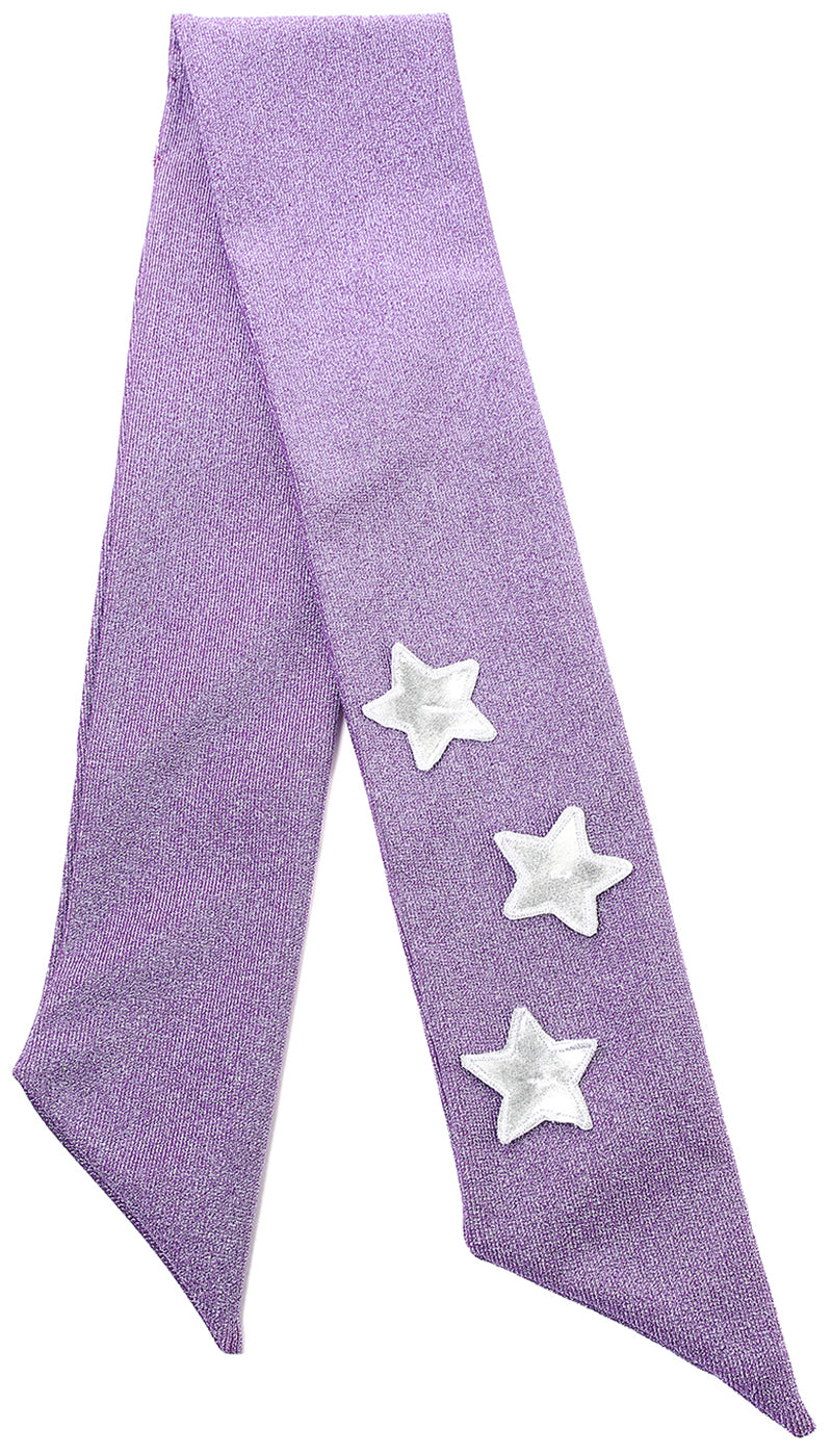 Fascia in lurex viola con stelle applicate argento
