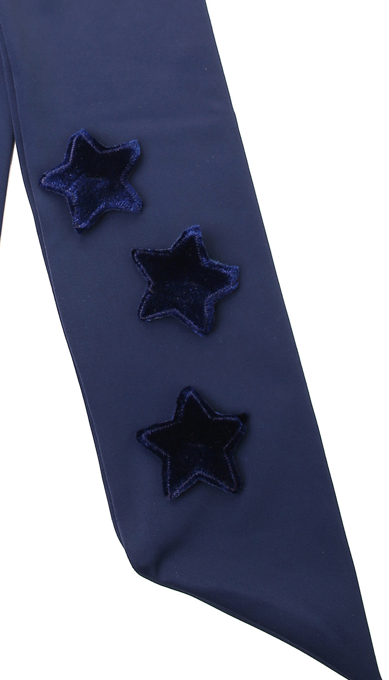 Fascia in lycra blu con stelle applicate in velluto blu