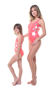 Costume Bundle Donna e Bambina in lycra corallo con stelle applicate bianche e argento