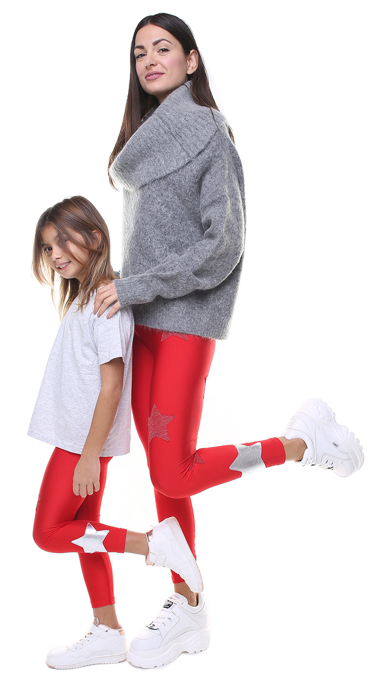 Leggings Bundle Donna e Bambina in lycra rossi con stelle applicate in lurex rosso e argento