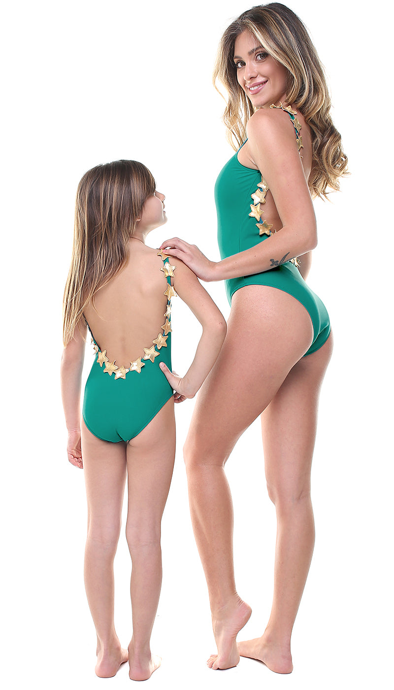 Costume Bundle Donna e Bambina scollo all'americana in lycra turchese con stelle applicate oro